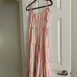 Colorful stripe maxi dress with tassels